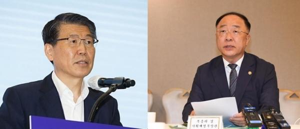 (좌)은성수 금융위원장, (우) 홍남기